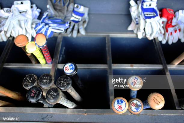 The baseball bats of Cody Bellinger of the Los Angeles Dodgers Chase Utley of the Los Angeles Dodgers Justin Turner of the Los Angeles Dodgers and...