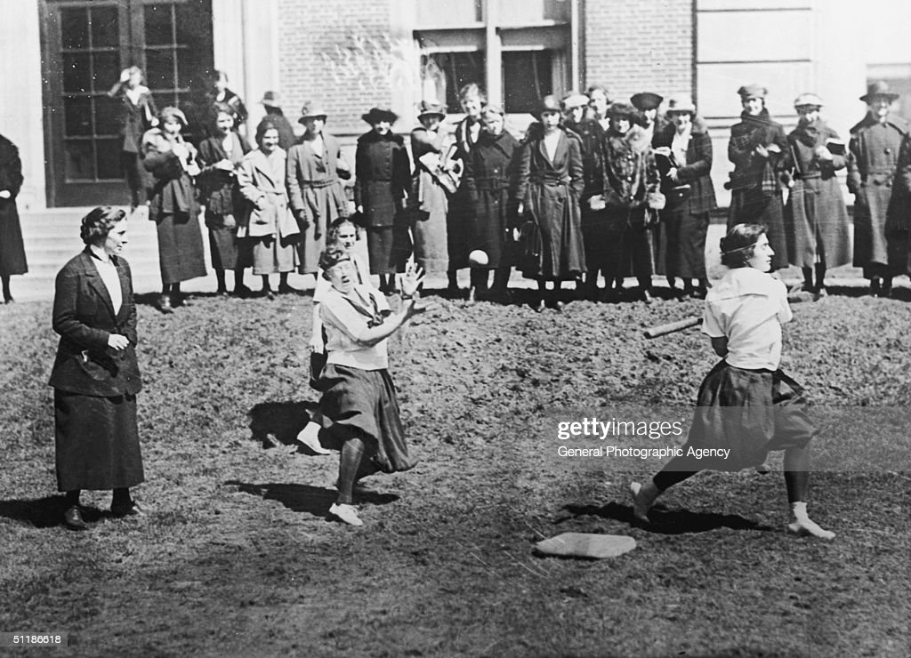 The baseball team of Barnard College a women's college in New York City in training on campus circa 1925
