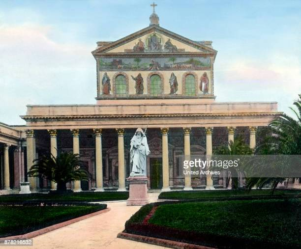 The Basilica of Saint Paul Outside The Walls is one of the four major basilicas of Rome Italy 1920s