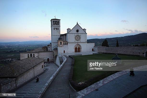 The Basilica of St Francis of Assisi which sits above the tomb of Saint Assisi is seen on March 15 2013 in Assisi Italy Cardinal Jorge Mario Begoglio...