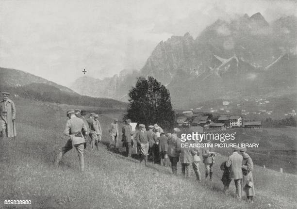 The basin of Cortina d'Ampezzo occupied by Italian troops with the Austrian Fortress of Son Pauses in the background Veneto Italy World War I...