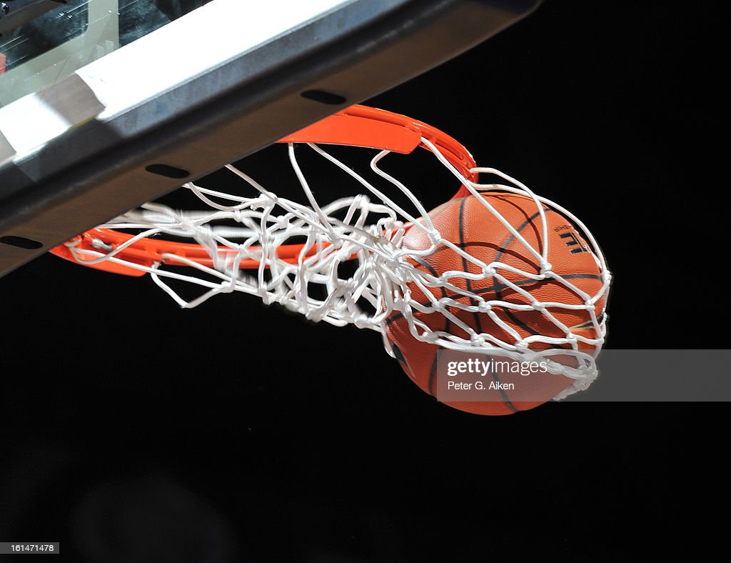 The basketball goes through the net after a shot during a game between the Kansas State Wildcats and the Iowa State Cyclones on February 9, 2013 at Bramlage Coliseum in Manhattan, Kansas.