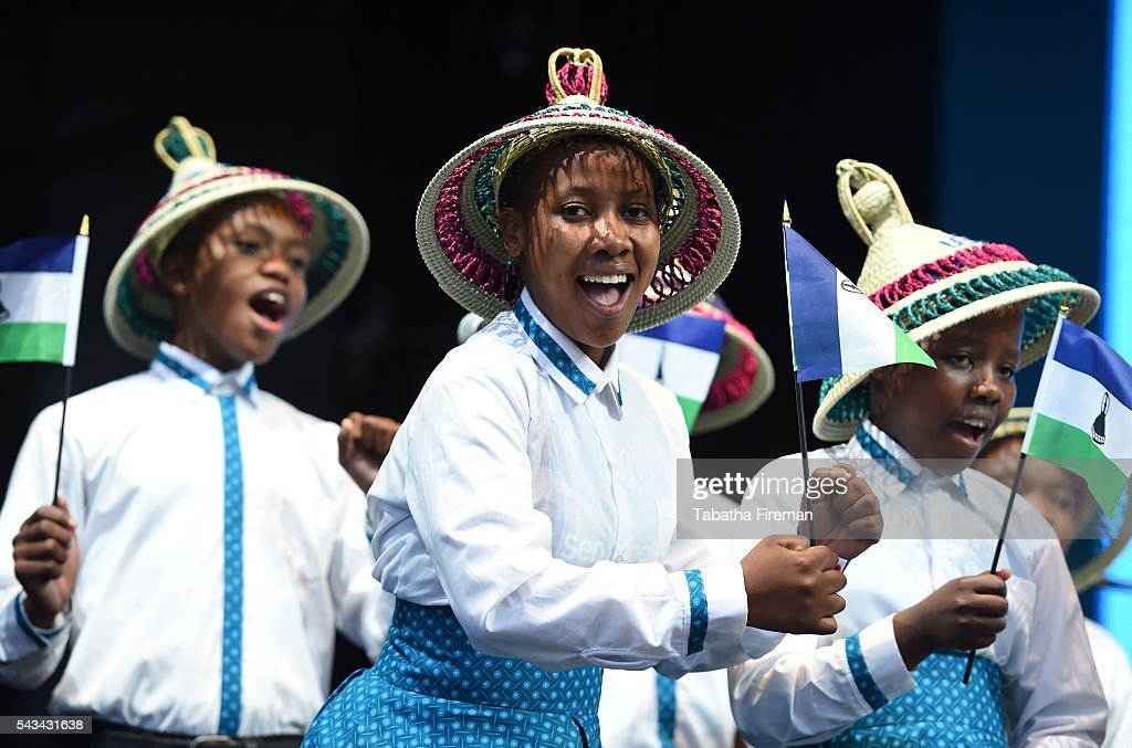 The Basotho Children's choir perform on stage during the Sentebale Concert at Kensington Palace on June 28, 2016 in London, England. Sentebale was founded by Prince Harry and Prince Seeiso of Lesotho over ten years ago. It helps the vulnerable and HIV positive children of Lesotho and Botswana.