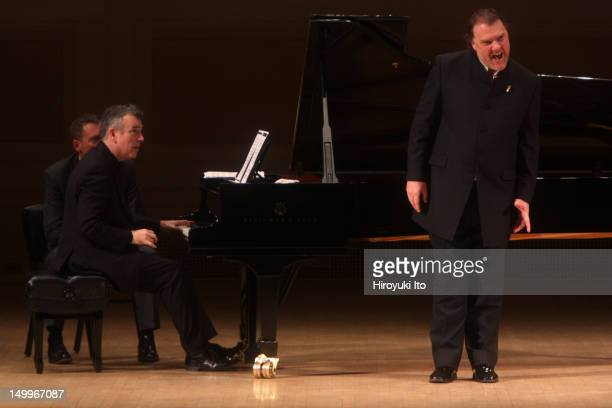 The bassbaritone Bryn Terfel accompanied by Malcolm Martimeau performing at Carnegie Hall on Wednesday night November 17 2010They performed the music...