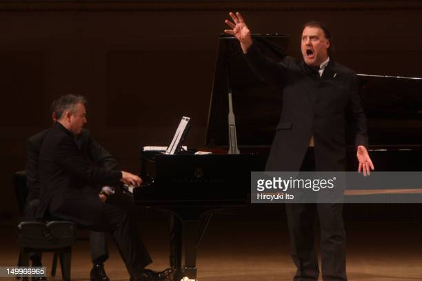 The bassbaritone Bryn Terfel accompanied by Malcolm Martimeau on piano performing at Carnegie Hall on Wednesday night November 17 2010They performed...