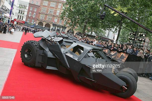 The Bat Mobile arrives at the European premiere of 'Batman Begins' at the Odeon Leicester Square on June 12 2005 in London England