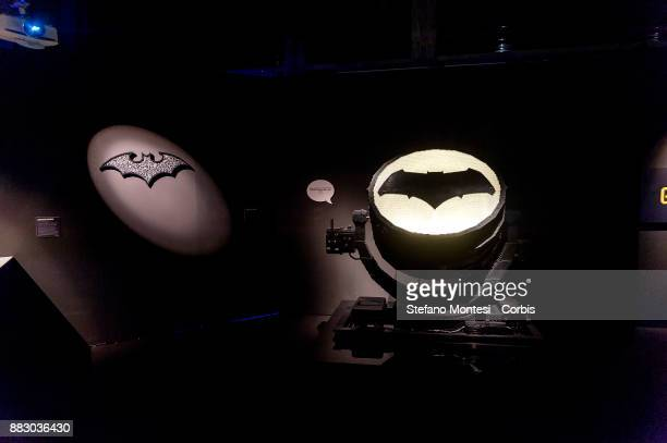 The Bat signal entirely realized with Lego bricks is seen during it the 'The Art of the Brick DC Super Heroes' Exhibition at the Palace of Exams on...