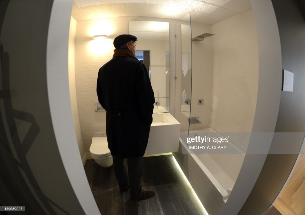 """The bathroom inside a fully furnished 325-square-foot studio apartment during an exhibit displaying a transformable 'micro-unit' at the Museum of the City of New York January 23, 2013 during the opening of a new exhibition, 'Making Room: New Housing for New Yorkers'. New York City mayor Michael Bloomberg unveiled yesterday New York City's first """"micro-unit"""" building will have apartments as small as 250 square feet."""