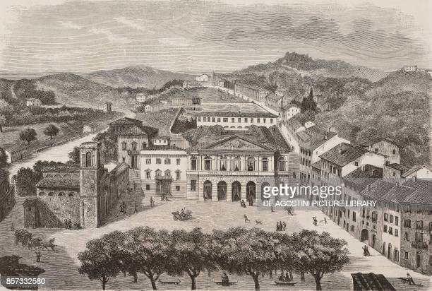 The baths of Casciana in Tuscany drawing by Nicola Sanesi illustration from Nuova illustrazione Universale Year 1 Vol II No 36 July 26 1874