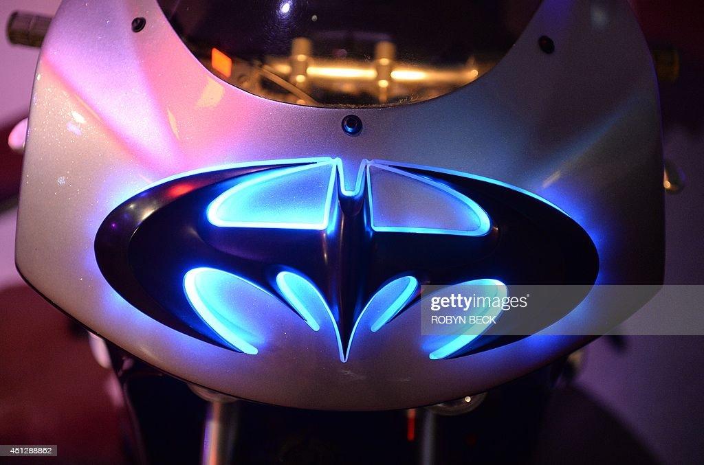 The Batman logo is seen on Batgirls Batblade from Batman Robin at The Batman Exhibit on the exhibitions opening day on the Warner Bros VIP Studio...