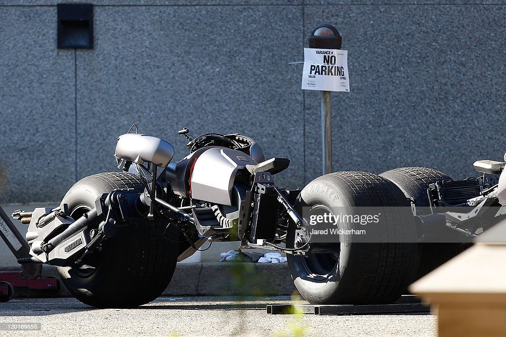 The Batman motorcycle is seen parked on the street during the filming of the new Batman: Dark Knight Rises movie at the Mellon Institute building in the Oakland neighborhood of Pittsburgh on July 31, 2011.
