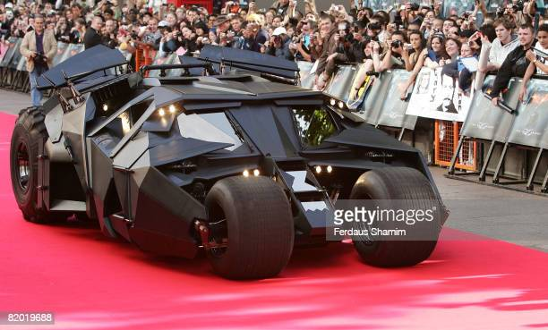 The Batmobile arrives at 'The Dark Knight' European premiere at Odeon Leicester Square on July 21 2008 in London England