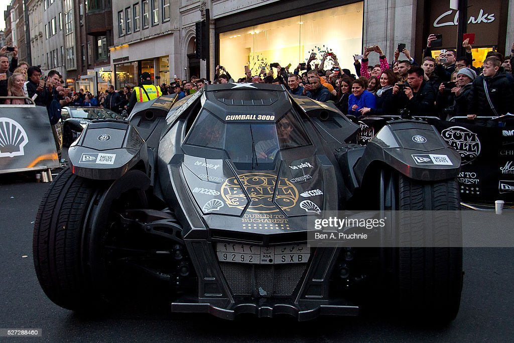 The 'Batmobile' arrives at the finish line as Gumball Rally closes down Regent Street at Regent Street on May 3, 2016 in London, England.
