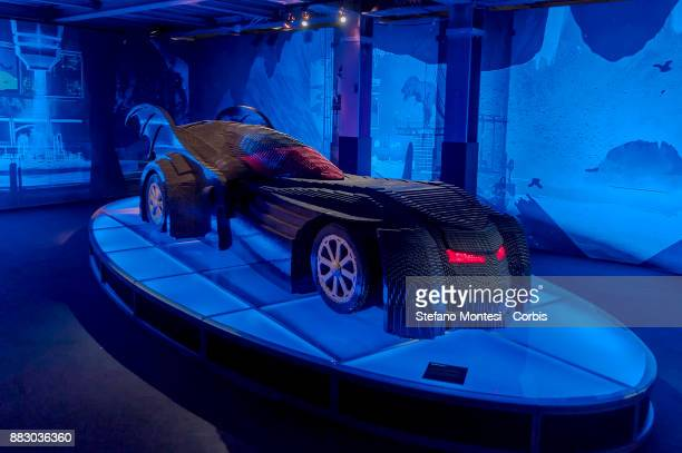 The Batmobile in full scale made entirely with Lego bricks is seen during it the 'The Art of the Brick DC Super Heroes' Exhibition at the Palace of...