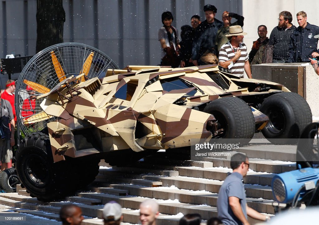 The batmobile, or Tumbler, is seen during filming of 'Batman: Dark Knight Rises' at the Mellon Institute building in the Oakland neighborhood of Pittsburgh, Pennsylvania on July 31, 2011.
