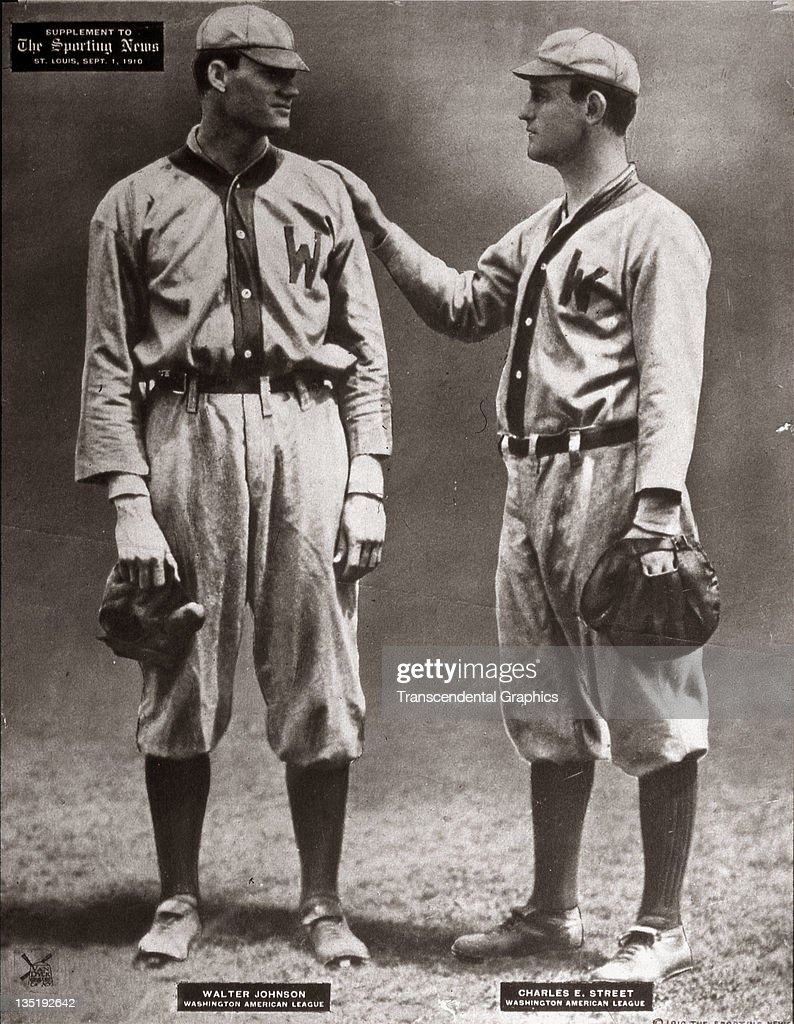 The battery for the Washington Senators pitcher Walter Johnson left and catcher Gabby Street take a moment for a photograph published at St Louis...