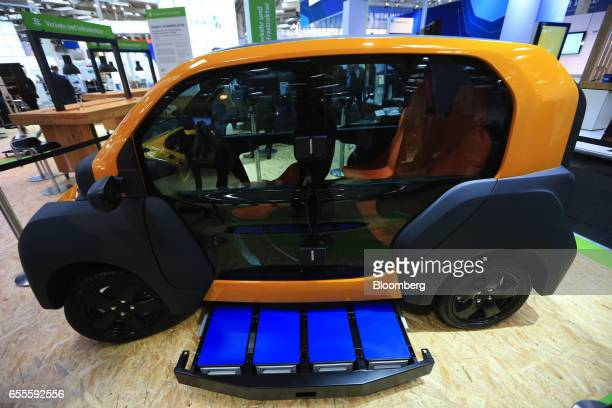 The battery unit for a City eTaxi emission free eMobility vehicle sits on display at the CeBIT 2017 tech fair in Hannover Germany on Monday March 20...