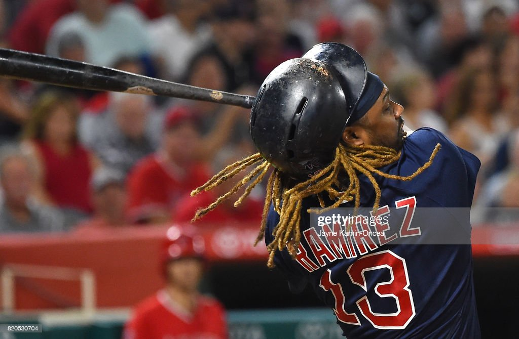 The batting helmet of Hanley Ramirez #13 of the Boston Red Sox flies off his head while at bat in the fifth inning of the game against the Los Angeles Angels of Anaheim at Angel Stadium of Anaheim on July 21, 2017 in Anaheim, California.