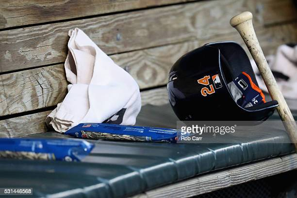 The batting helmet of Miguel Cabrera of the Detroit Tigers is shown in the dugout before the start of the Baltimore Orioles and Tigers game at Oriole...