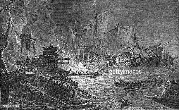 The Battle of Actium at which Augustus defeated Antony and Cleopatra 31 BC From Harmsworth History of the World Volume 4 by Arthur Mee JA Hammerton...