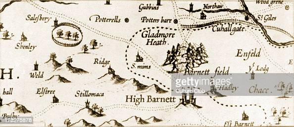 The Battle of Barnet 1471 Detail from a map of Hertfordshire probably by H Woutneel c 1602 The Battle of Barnet was a decisive engagement in the Wars...