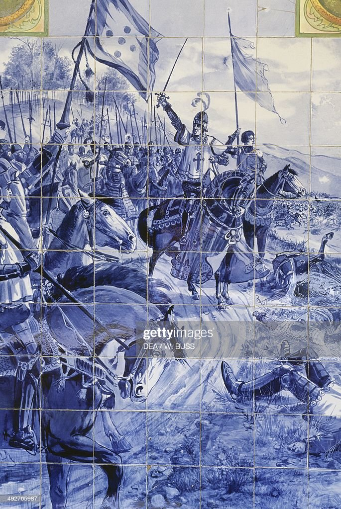 The Battle of Bucaco in 1810, azulejos panel by Jorge Colaco (1868-1942), Palace Hotel do Bucaco (former Discalced Carmelite convent of Santa Cruz), Sierra de Bucaco, Portugal.