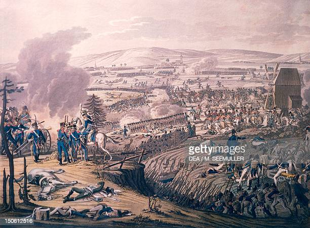 The Battle of Jena October 13 with the villages of KleinRomstedt Hermstedt and Stobra in the background by Johann Lorenz Rugendas II engraving...