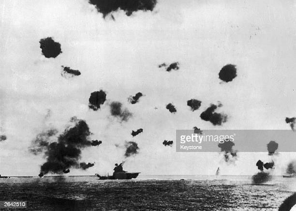 The Battle of Midway Island which resulted in a major victory for the US fleet The USS aircraft carrier 'Yorktown' received a direct hit from a...