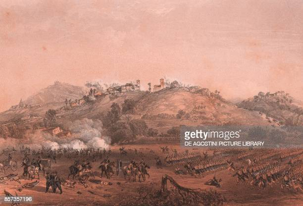 The Battle of Montebello Lombardy Second War of Independence lithograph by Carlo Perrin from the drawing by Carlo Bossoli 22x15 cm from Album...