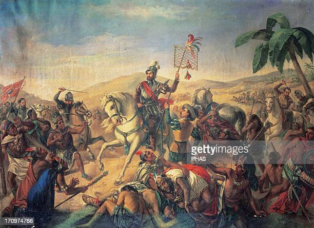 The Battle of Otumba Anoyimous painting Army Museum Madrid Spain