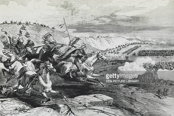 The Battle of Rosebud Creek against the Sioux Indians June 17 engraving taken from Frank Leslie's Illustrated Newspaper August 12 1876 Indian wars...