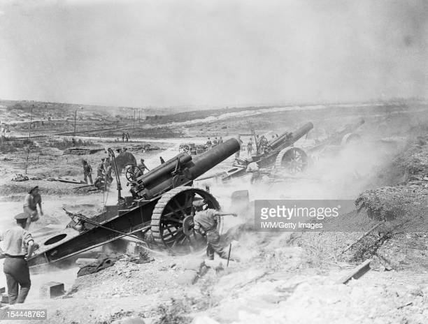 The Battle Of The Somme 1 July 18 November 1916 Three 8inch howitzers of 39th Siege Battery Royal Garrison Artillery firing from the FricourtMametz...