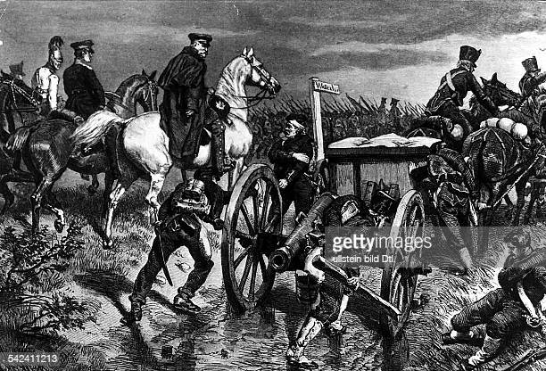 The Battle of Waterloo on 06161815 Prussian general Blücher at fast march to Waterloo
