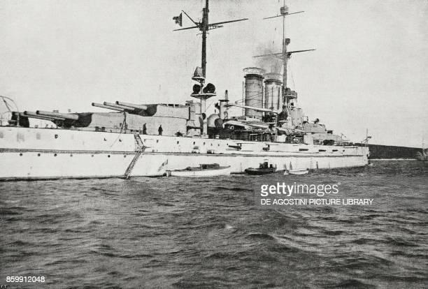 The Battleship Prinz Eugen surrender of the Austrian ships in the port of Pula Croatia World War I from l'Illustrazione Italiana Year XLV No 50...