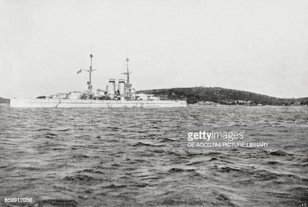 The Battleship Tegetthoff surrender of Austrian ships in the port of Pula Croatia World War I from l'Illustrazione Italiana Year XLV No 50 December...