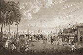 The bay and harbor of New York as viewed from the Battery circa 1830 The view shows people enjoying their leisure time by the river and ships in the...