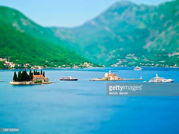 The Bay of Kotor, Adriatic Sea, Montenegro, tilt shift effect