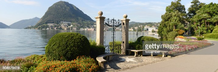 The bay of lake Lugano : Stock Photo