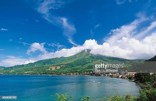 The bay of Saint Pierre dominated by Mount Pelee Martinique Overseas Department of France