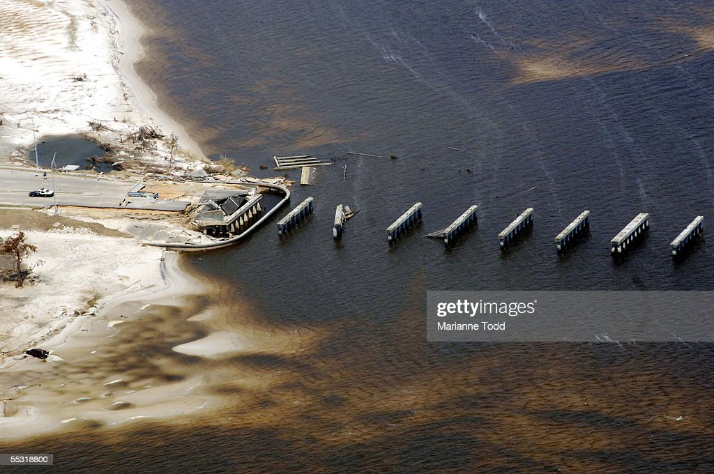The Bay St Louis Bridge connecting Waveland and Bay St Louis Mississippi was destroyed in the hardest hit area during Hurricane Katrina on September...