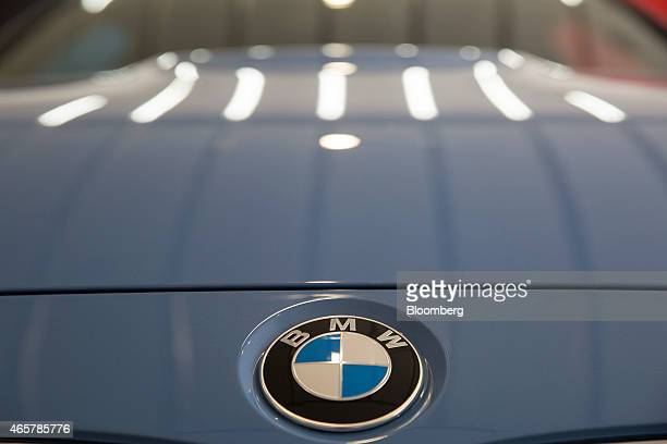 The Bayerische Motoren Werke AG logo is displayed on a new car at a dealership in the Polanco neighborhood of Mexico City Mexico on Saturday March 7...