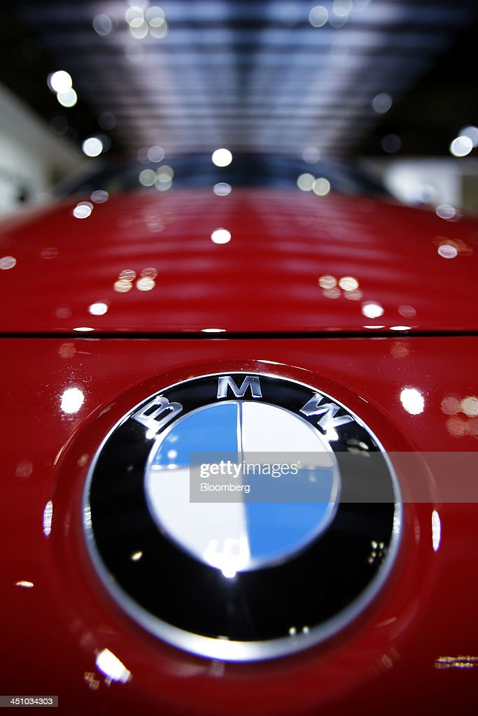 The Bayerische Motoren Werke AG (BMW) logo sits on the front of the 335i Gran Turismo vehicle at the 43rd Tokyo Motor Show 2013 in Tokyo, Japan, on Thursday, Nov. 21, 2013. The autoshow will be open to the public from Nov. 23 to Dec. 1 at the Tokyo International Exhibition Center, also known as the Tokyo Big Sight. Photographer: Kiyoshi Ota/Bloomberg via Getty Images