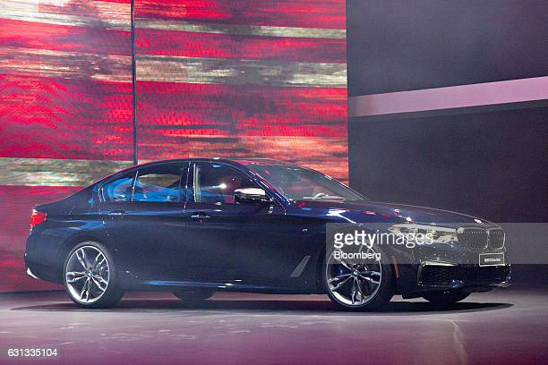 The Bayerische Motoren Werke AG M550i xDrive vehicle is unveiled during the 2017 North American International Auto Show in Detroit Michigan US on...