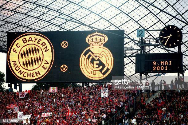 The Bayern Munich and Real Madrid badges are displayed on the scoreboard