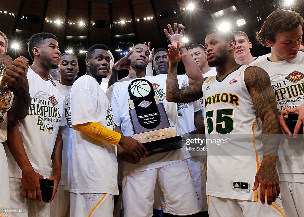 The Baylor Bears celebrate after defeating the Iowa Hawkeyes during the 2013 NIT Championship at Madison Square Garden on April 4, 2013 in New York City. Baylor defeated Iowa 74-54.