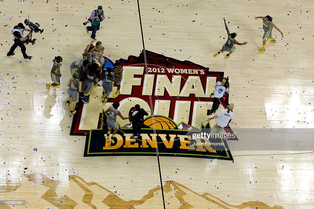 The Baylor Bears celebrate on the court after they won 8061 against the Notre Dame Fighting Irish during the National Final game of the 2012 NCAA...