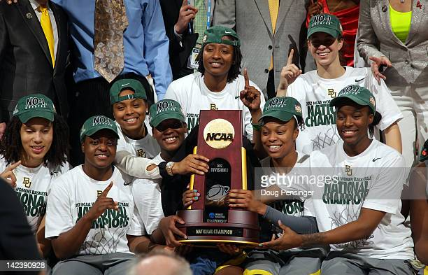 The Baylor Bears celebrate with the National Championship trophy after they won 8061 against the Notre Dame Fighting Irish during the National Final...