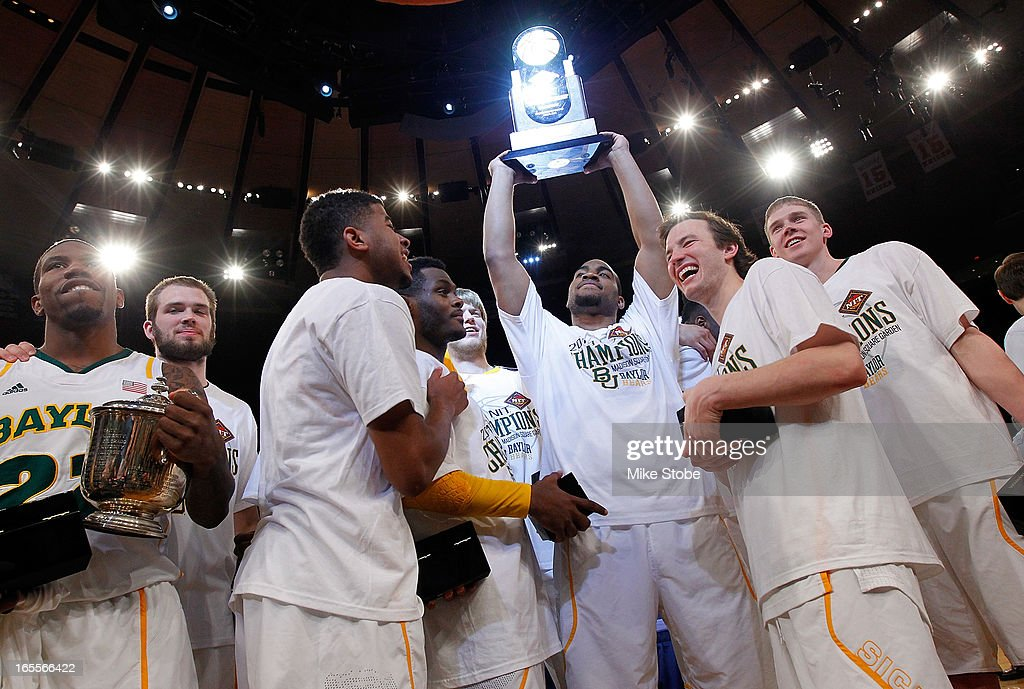 The Baylor Bears celebrates after defeating the Iowa Hawkeyes during the 2013 NIT Championship at Madison Square Garden on April 4, 2013 in New York City. Baylor defeated Iowa 74-54.
