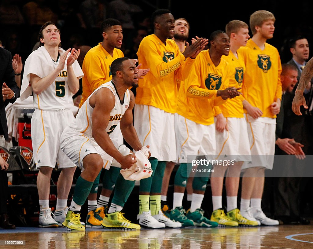 The Baylor Bears react during action against the Iowa Hawkeyes during the 2013 NIT Championship at Madison Square Garden on April 4, 2013 in New York City. Baylor defeated Iowa 74-54.