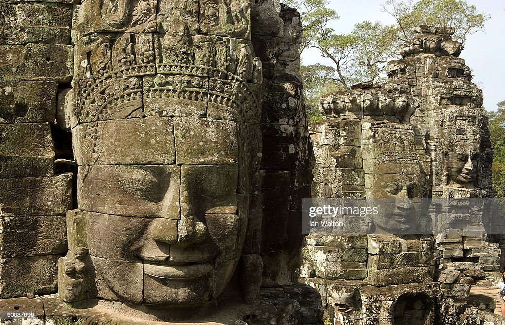The Bayon temple at the famous temple area of Angkor Archeological Park on December 4 2008 in Siem ReapCambodia